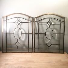Pair Of VINTAGE/ANTIQUE Beveled  LEADED Glass Arched Window W/ Etched Flowers