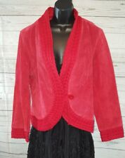 Coldwater Creek Red Cable Knit And Suede Leather Jacket Womens Size L NWT #2765