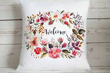 """Floral Welcome - 16"""" cushion cover Vintage Shabby Chic"""