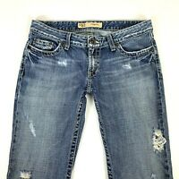 BKE Buckle Sabrina Medium Wash Bootcut Flare Distressed Womens Jeans 28 x 29
