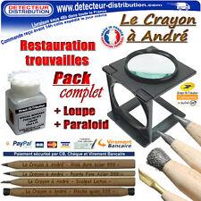Pack complet nettoyage pièces de monnaies 4 crayons grattoirs + Loupe + Paraloid