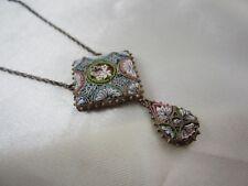 Schöne antike italienische Millefiori Kette Collier Mikromosaik Silber