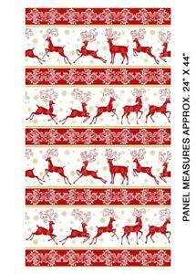 Deer Festival Fabric   Benartex Christmas Winter Red Deer Stripe   Yard