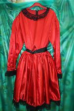 red and black shiny satin maids uniform dress 50 chest with mesh u/skirt TV size