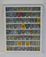 72 Shot Glass Shooter Display Case Rack Wall Curio Cabinet, Glass Door, SC13-WHI