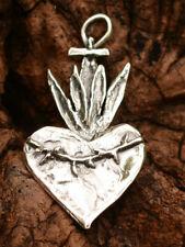 Corazon Sacred Heart Pendant in Sterling Silver, Milagro, Ex Voto