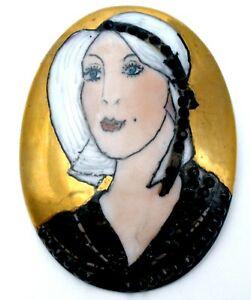 Vintage Edith Flinkman Flapper Lady Portrait Brooch Hand Painted Porcelain Pin