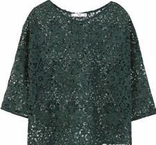 Mango Guipure Blouse Green Size UK 8 LF172 FF 03