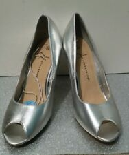 BNWT Ladies Primark/ Atmosphere Peep Toe Silver Heels UK Size 6