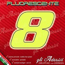 Adesivo Stickers NUMERO 8 moto auto cross gara Giallo FLUORESCENTE 10 cm
