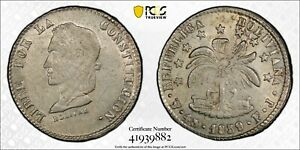 BOLIVIA SILVER 4 SOL COIN 1859 PTS FJ YEAR KM#123.3 PCGS GRADING