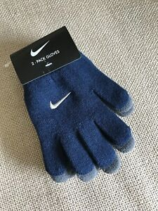 Nike Youth Boy's Everyday Solid Knit 2-Pack Gloves Navy / Gray