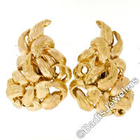 David Webb Vintage 18k Yellow Gold Large Braided Branch Textured ClipOn Earrings