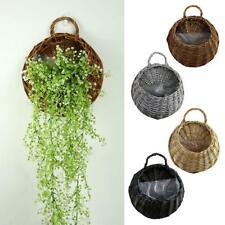 Wall Fence Hanging Planter Plant Flower Pot Handmade Rattan Basket Garden Home