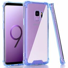For Samsung Galaxy S9 Case Clear Blue Shock Absorption Flexible TPU Bumper Cover
