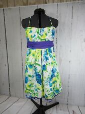 City Triangles Colorful Floral Print, Lined Dress Size 9 Spaghetti Straps A8