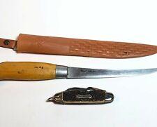 """Vintage Bud Adams Fish Fillet Knife 6"""" Long Blade W Sheath Stag Camper Pocket"""