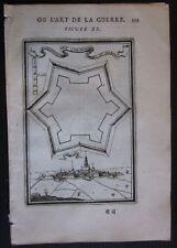 1684 LA BASSEE gravure Alain Manesson Mallet fortifications La Bassée