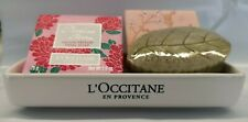 L'Occitane Rose, Pivoine, Cherry + Verbena Soap with Soap Dish Set
