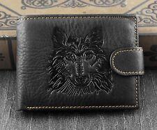 Mens Western Genuine Leather Wolf Head Snap Card Money Coins Wallet Black