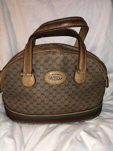 Vtg Rare Gucci Boston Speedy Sm GG Logo Cursive Gold Tone Gucci Plaque Ser# 067