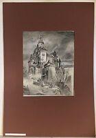 GUSTAV PFLUGRADT 1829 - ?- ALTE BURG - KOHLEZEICHNUNG