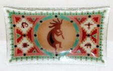 "Peggy Karr Fused Glass Art Glass Tray Dish Kokopelli Indian Motif 10"" x 6"""