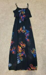 Xhilaration Women's Flounce Ruffle Black Butterfly Maxi Dress Size M Medium NWT