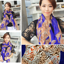 Fashion Blue Leopard Print Spotted Striped Women Light Long Scarf Wrap Shawl OS
