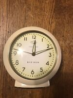 Big Ben White Loud Alarm Clock With Glow In The Dark Hands Used Not Working