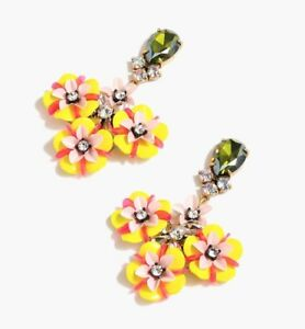 $88 NWT J CREW Fun Floral Crystal FESTIVE STATEMENT Earrings Yellow/Pink/Orange