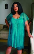 Sexy Plus Size Lingerie Sheer Jade Lace Chemise sheer see through cover Coat 2X