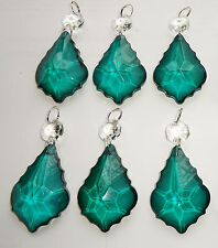 6 Lampadario Glass crystals PAVONE VERDE FOGLIA GOCCE DECORAZIONI ALBERO DI NATALE
