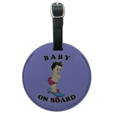 Baby On Skate Board Funny Humor Round Leather Luggage Card Carry-On ID Tag