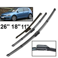 "26""18""11"" LHD Front Rear Windshield Wiper Blades For VW Golf 7 2012 2013 2014 15"