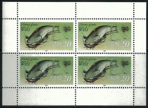 GERMANY DDR - 1987 Freshwater Fish 20 Sheetlet of of 4 MNH