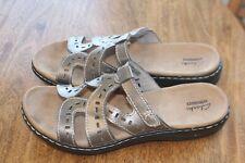 CLARKS Collection sandals size 9.5N slides bronze gold EC adj. strap