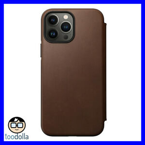 NOMAD Modern Folio Case - genuine Horween Leather for iPhone 13 Pro Max, Brown