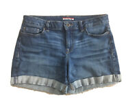 Tommy Hilfiger Women's Medium Blue Wash Denim Cuffed Jean Summer Shorts Size 4