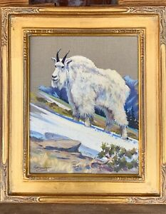 "Elmer Sprunger (1919-2007) Kalispell Montana original oil ""Glacier Park Goat"""