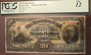 The Dominion Bank 1925 $20 bill Gaded Fine 12