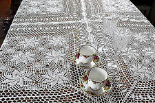 "Room Vintage Crochet Holiday Knitted Tablemat Runner 60""x 60"" White Tablecloth"