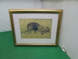 Contemporary Giclee Print of a Rembrandt Depicting Lion Lying Down