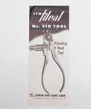 Vintage 1957 LYMAN Gun Sight Co. Ideal No. 310 Reloading Hand Tool BROCHURE