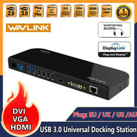 USB 3.0 Universal Docking Station Dual Video Display DVI HDMI VGA 1080P Gigabit