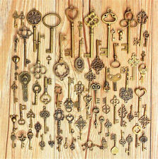 70X Bronze Keys Vintage Royal Antique Old Look Skeleton Heart Bow Pendant AU