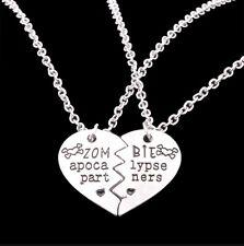 2 Zombie Apocalypse Set Partners Horror Half Love Heart Gift Necklace Wedding