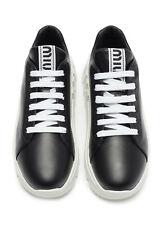 Authentic MIU MIU Platform Leather Sneakers Black - Size 37