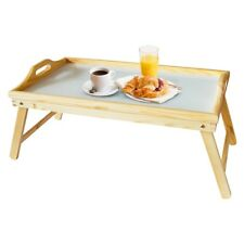Bed Tray Pinewood W/wht Top And Folding Legs 50 X 31cm - Breakfast Serving