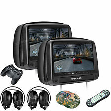"9"" HD Dual HDMI Slot DVD Car Pillow Headrest Monitors+Headset Kids Game Black"